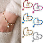 Women Beads Infinity Exquisite Rhinestone Peach Heart Chain Crystal Bracelet
