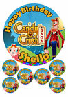 """PERSONALISED CANDY CRUSH SAGA GAME 7.5"""" & 6 x 2"""" ROUND EDIBLE TOPPERS CAKE CUPCA"""