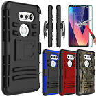 For LG V30 VS996 V30+ Plus Shockproof Case With Kickstand Clip+Screen Protector