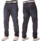 New Mens APT Straight Fit Regular Leg Basic Denim Jeans With Free Belt
