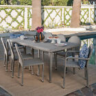 Amallie Outdoor 9 Piece Wicker Dining Set with Aluminum Stacking Chairs