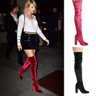 Ladies Womens Thigh High Block Heel Boots Crushed Velvet Stretchy Fashion Shoes