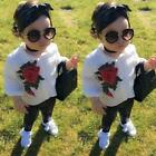 Kids Baby Girl Clothes Outfit Floral T-shirt Tops +PU Leather Leggings Pants Set