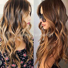 Womens Half Head Wig Long Straight Wavy OMBRE DIP DYE 3 4 Weave Brown Blonde Wig