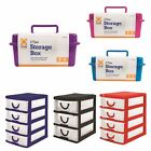 2 Tier Small Plastic Handy 3 4 Drawer Storage Desk Cabinet Rack Tidy Home Office