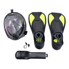 Underwater Diving Swimming Training Swim Fins Snorkeling Full Face Mask Set