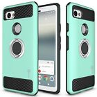 For Google Pixel 2 XL / 2XL Hybrid Armor Protective Ring Phone Cover Hard Case