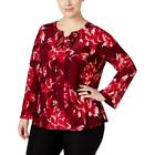 INC Womens Floral Print Lace-Up Bell-Sleeves Tunic Top Plus BHFO 2256