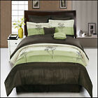Portland Sage and Coffee with Green and beige Luxury 8PC Comforter Set