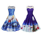 Retro Women Santa print Spliced Lace Skater Swing Pin up Dresses for Xmas Party