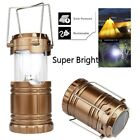 Solar USB Charging Rechargeable Outdoor Camping Tent Lantern Light 6 LED Lamp EW