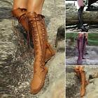 Women Vintage Retro Style Lace Up Knee High Boots Shoes Winter PU Leather Shoes