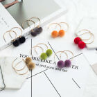 New Winter Hairy Ball Tassel Half Open Alloy Soft Wool Ball Earrings Popular CA