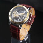 Mens Leather Strap Transparent Watch Automatic Mechanical Roman Fashion Luxury