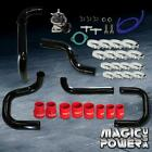 Black Intercooler Piping  + Type RS BOV  + Red Couplers Kit for 1996-2000 Civic