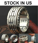 Solid 925 Sterling Thai Silver Forefinger Ring 8-Trigrams Man/Woman Size 7-11