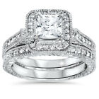1 1/2ct Vintage Halo Princess Cut Enhanced Diamond Engagement Ring Set 14k Gold