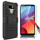 For LG G6 Shockproof Case With Kickstand Clip + Tempered Glass Screen Protector