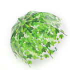 Stick Hook Handle Clear Transparent Dome Autumn Maple Leaf Rain Umbrella 、US