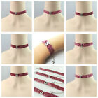 NEW IN KIDS PINK GLITTER CHOKER & BRACELET WITH INITIAL DESIGN - GIFT JEWELLERY