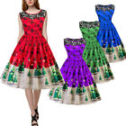 Women Retro 1950s Tree Print Lace Sleeveless Xmas Party  Rockabilly Swing Dress