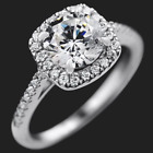 1.5 Carat CT VVS1 Engagement RING ROUND CUT Halo White Gold Plated SIZE 5-10