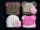 SALE! CHOOSE CROCHET BABY GIRL BEAR HAT  MICRO PREEMIE NEWBORN 0 3 6 MONTHS