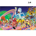 Frameless Rick and Morty Fabric Canvas Psychedelic Trippy Art Silk Fabric Poster