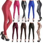 New Women Faux Leather Leggings High Waist Stretch Silm Pant Trousers IWLE17