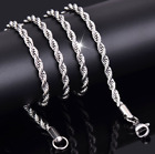 2- 4mm Fashion 925 Silver Solid Twist Rope Chain Necklace Wedding Jewerly 16-30""