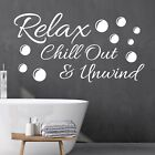 Relax Chill Out And Unwind Wall Sticker Quote | Decor Removable Decal Bathroom