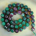 38-40cm 8mm Faceted Red Ruby Round Loose Beads Gemstone