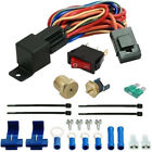 """ELECTRIC FAN THERMOSTAT SWITCH 1/8"""" 1/4"""" 3/8"""" 1/2"""" INCH NPT PROBE RELAY WIRE KIT"""