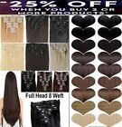 100% real natural hair Full Head Clip In Hair Extension Extensions human made