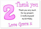 tc 10 Personalised Thank you CARDS & envelopes, thanks birthday party girls 2