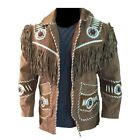 Mens Western Wear Suede Leather Jacket Handmade Fringed & Beads Leather Coat
