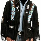 Mens Black  Western Wear Suede Leather Jacket Handmade Fringed Cow boy Coat