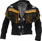 Mens Black Western Wear Suede Leather Jacket  Cow hide Fringed style Beads Coat