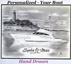 YOUR Boat 11x14 art from pics. Landscape Boating Fishing Yacht Nautical Decor