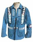 Mens Blue Western Wear Cowboy Style Suede Leather Jacket Handmade  Jacket