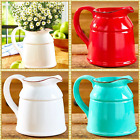 Ceramic Country Crock Vase Decorative Flower Pitcher Table Decor WHITE TEAL RED