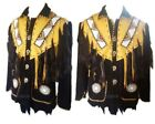 Mens Western Wear Cowboy Style Suede Leather Jacket Fringe Vintage Wear Jacket