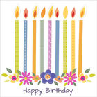 Happy Birthday Card, Flower Candles + Personalised Age & Name / Mum Nanna Girls