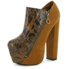 WOMENS NEW FAUX SUEDE CONCEALED PLATFORM LADIES BLOCK HEEL SHOES BOOTS SIZE 3-8
