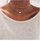Silver Gold Plated 2 Double Layer Beaded Chain Choker Necklace Heart Pendant Uk <br/> Comes With Free Velvet Gift Bag Worth 1.99