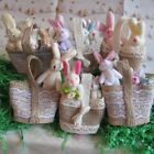 Gorgeous Easter Basket with Bunny Rabbits Jute Lace Trim