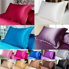 Queen/Standard Silk~y Satin Soft Pillow Case Multi Colors Bedding Pillowcase New image