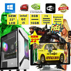 Fast Quad Core i5 Gaming PC + Monitor Bundle 8GB RAM 500GB HDD Desktop Computer