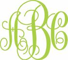 Your 3 Initials Monogram Vine Decal For Car Truck Window Vinyl Letter Big