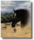 Black Race Horse Head #1WithColts in Field Ruane Manning Wall Art Print Picture